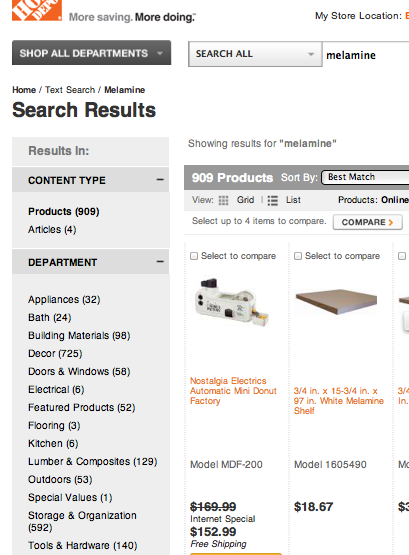 product search results from home depot